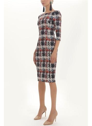 Societa Fermuarlı midi elbise 92168 Renkli